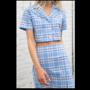 Brandy Melville Vivian top & Cara skirt set plaid